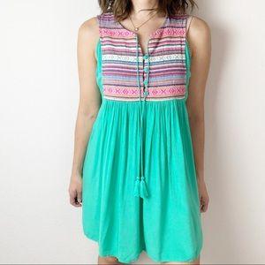 Umgee green and pink sleeveless dress